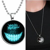 We Are All Mad Here Smiling Glow In Dark Pendant Necklace Womens Sweater Chain