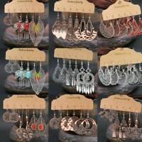Boho Vintage Earrings Dangle Drop Ear Stud Dangle Tribal Ethnic Jewelry Set UK