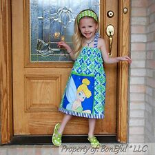 BonEful GIRL 7 8 RTS Boutique DISNEY Tinkerbell Fairy Halter Dress Cotton Fabric