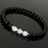 Men's Women Matte Black Onyx Flash Moonstone Bracelet 925 Sterling Silver 1043