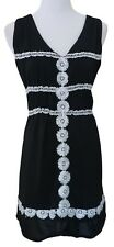 TEABERRY Little Black Dress With White Embroidery Details  ~ Ladies Size 10