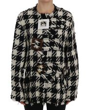 NEW $2400 DOLCE & GABBANA Jacket Black White Wool Knitted Crystal IT46 /US12/XL