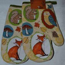 2~Oven Mitt~Autumn Fox~Owl~Fall Leaf~Squirrel~Toadstool~Thanksgiving~Kitchen~NEW