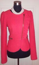 BCBG PARIS RED BOUCLE KNIT RUFFLED MOTORCYCLE DRESS CASUAL WOOL SUIT JACKET~SZ S