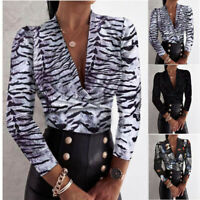 Womens Long Sleeve T Shirt V Neck Casual Tops Sexy Leopard Loose Blouse Tunic