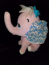 Vintage 1960s Dakin Dream Pet Pink Elephant Sawdust Stuffed Felt Animal Japan
