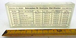 Uhrenersatzteile, Konvolut Schrauben für deutsche Etui Wecker, Flume, Uhrmacher