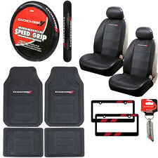 12pc Dodge Car Truck Suv All Weather Floor Mats Seat Covers Steering Wheel Cover