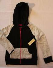 NEW Girl Hooded Jacket XS 4 - 5 Black Gray Top Full Zip Light Weight Knit Hoodie