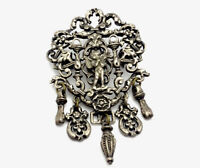 Vintage Large Silver Pewter Tone CHERUB Brooch With Droplets MIRACLE Gift Boxed