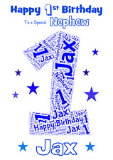 Word Art Number personalised A5 birthday card - ANY Age Relation Name