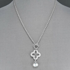 Shape Stone Quatrefoil Pendant Necklace Silver Chain Designer Inspired Triangle