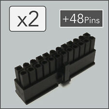 x2 24 pin Female ATX EPS Power Connector PSU Socket - Black + 48 Pins