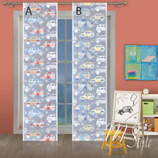 Kids Net Lace Window Panel Cars Blind Curtain Fly Screen Slot top Children Room