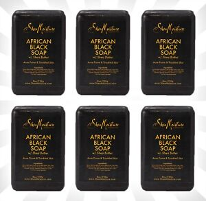 6 Shea Moisture African Black Soap With Shea Butter 8 OZ