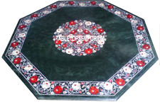 """24"""" Green Marble Coffee Table Top Carnelian Mother of Paerl Inlay Floral Decor"""