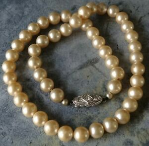 vintage signed ROSITA cream glass faux pearl bead necklace rhinestone clasp X75
