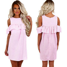 Fashion Women's Summer off Shoulder Striped Ruffled Party Casual Mini Sundress Pink L