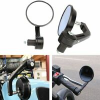 """MOTORCYCLE ALUMINUM BLACK ROUND CNC REAR VIEW HANDLE BAR END 7/8"""" 22MM MIRRORS"""