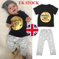 2pcs Newborn Infant Baby Boys MAMAS BOY Outfit Top T shirt Tee + Pant Clothes UK