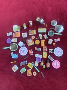 Vintage Mattel Barbie Tyco OSFT Kitchen Littles 57 pc Food / Dishes Lot