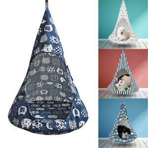 Removable Cat Hanging House Conical Tent for Kitten Dog Pet Washable Hammock S M