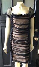 BOSTON PROPER SzS Black Mesh Ruched Dress-Beige Lined (mannequin is sz 6)  Cute!