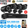 8CH 1080N CCTV DVR System Home Outdoor 1500TVL Security Camera IR Monitor Kit