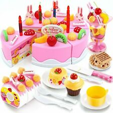 Birthday Cake Play Food Set Pink 75 Pieces Plastic Kitchen Cutting Toy Pretend P