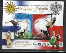 URUGUAY 2020 POLAND DIPL REL.100° ANIV FAUNA BIRDS TYPICAL DRESSES FLAGS S/S MNH