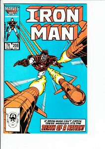 IRON MAN #208 (Marvel 1986): BRIGHT CVR / JIM RHODES APP.  --  VF+
