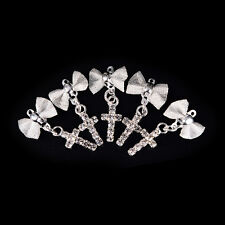 5x 3D Nail Art Silver Alloy Bow / Cross Charms Decorations Jewelry Rhinestone~!