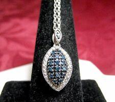 SJ 925 STERLING SILVER BLUE DIAMONDS CLUSTER SET LOVE DANGLING PENDANT NECKLACE