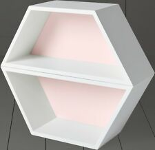 NEW Tesco Hexagon 2 Shelf Wall Unit - Pink & White