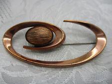 VINTAGE ESTATE JEWELRY SIGNED RENOIR COPPER METAL MODERNIST CORONET BROOCH PIN