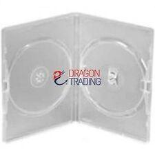 10 X CD/DVD/BLU RAY 14mm Custodia Trasparente DVD Doppia per 2 Disc-Branded Drago.