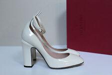 sz 8 / 38.5 Valentino White Patent Leather Tan-Go Tango Ankle Strap Pump Shoes