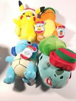 Pokemon 2020 Christmas Plush Set of 4 Pikachu Charmander Bulbasaur Squirtle NWTs