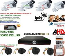 KIT VIDEOSORVEGLIANZA AHD IP CLOUD DVR 4 Ch 500g 4 TELECAMERE HD INFRAROS 1.3 Mp