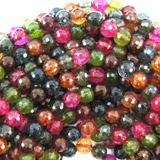 Natural 8mm Faceted Multicolor Tourmaline Round Gems Loose Beads 15/'/' ##MJ188