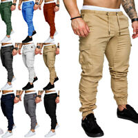 Cargo Straight Fit Slim Leg Men's Pants Jogger Urban Casual Pencil New Trousers