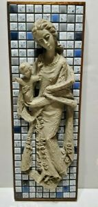 Goldscheider Pottery Woman and Child Tiled Wall Hanging Made in Germany 13x4.5''