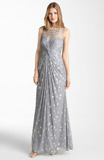 NWT Adrianna Papell Knot Front Metallic Mesh Gown, Size 4