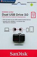 Sandisk Ultra 32GB Dual USB 3.0 micro USB OTG Stick 150MB/S SDDD2-032G NEU & OVP