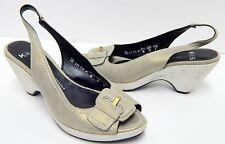 Kennel und Schmenger 38 7.5 M Gold Metallic Leather Slingback Wedge Heels