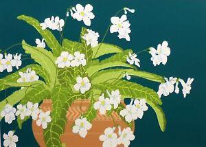 """Tjelda Michas """"Cape Primrose"""" Hand Signed Floral Art Serigraph matted Make Offer"""