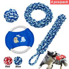 4pcs Braided Cotton Pet Dog Chew Toys Aggressive Chewers Molar Ball Teeth Clean