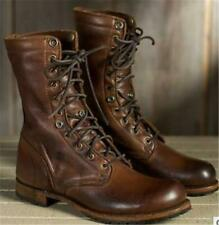 Military FashionMen Real Leather Combat Boots Lace Up Biker Ankle Mid Calf Shoes