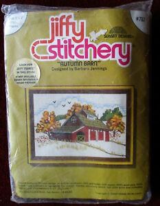 Autumn Barn 5x7 Needlepoint Kit Jiffy Stitchery #782 Crewel NIP Vintage 1977