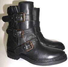 £325 ASH Black Leather Moto Biker Engineer Boots US 8 EU 39 3 Strap Buckle